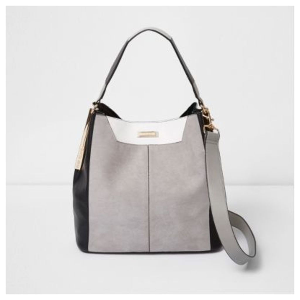River Island Womens Grey faux suede contrast slouch bag