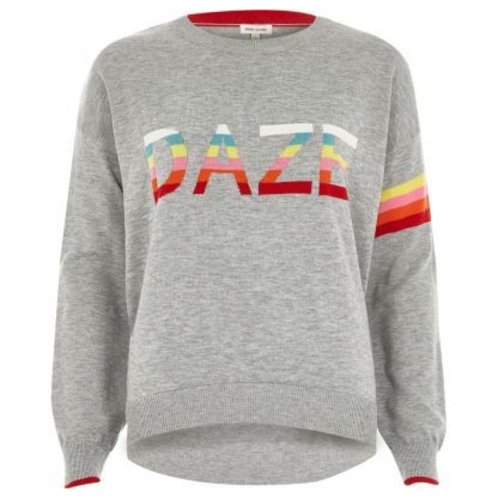 River Island Womens Grey knit multi colour 'daze' jumper