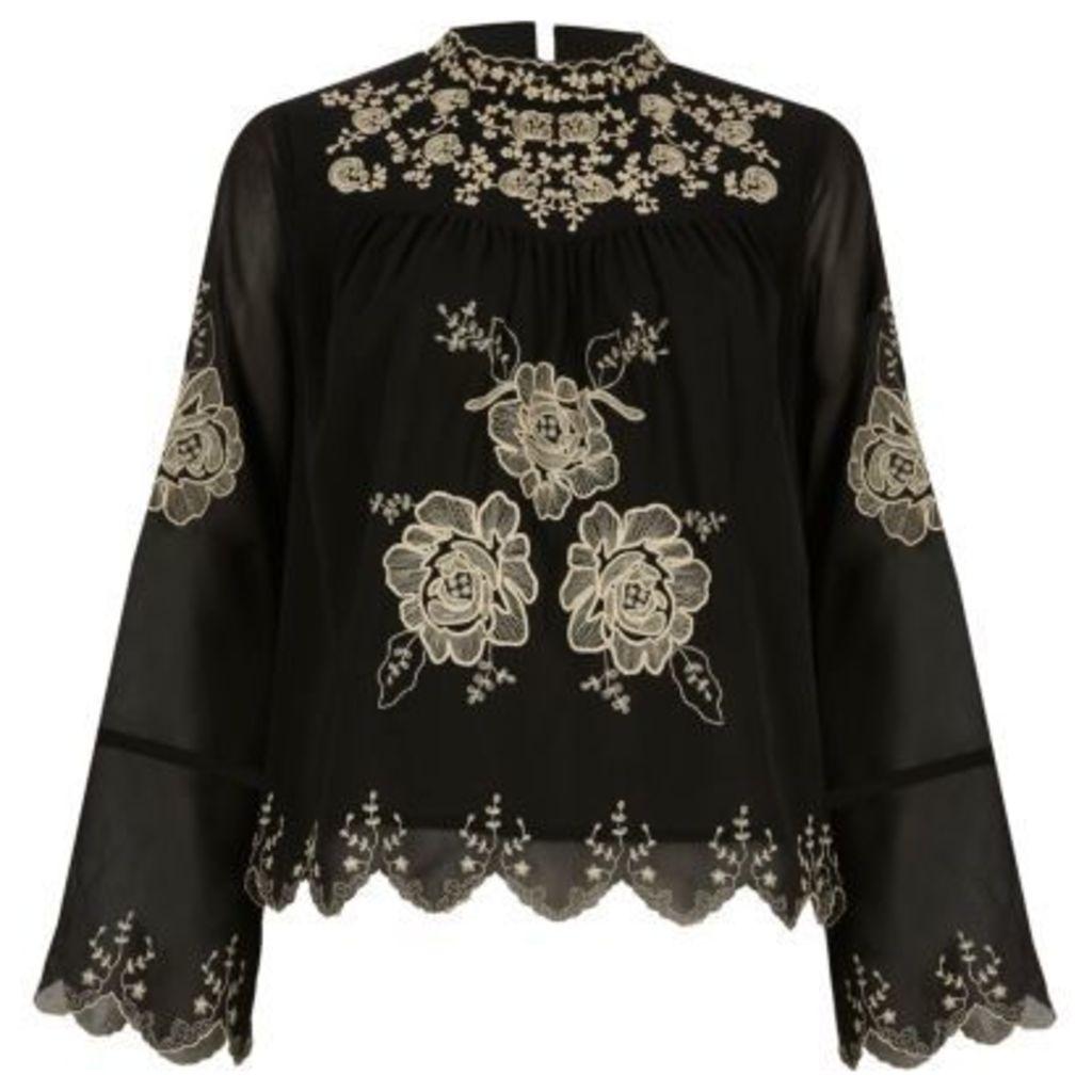 River Island Womens Black floral print top