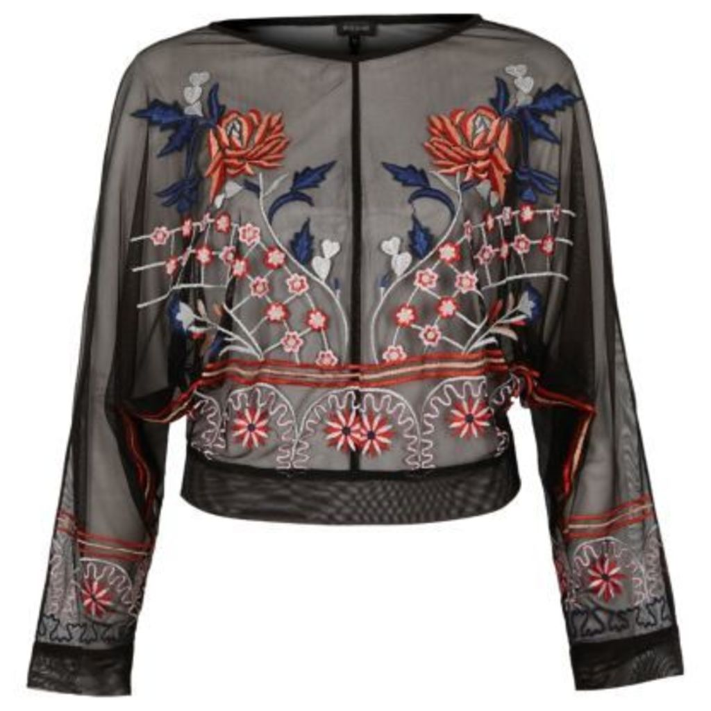 River Island Womens Black mesh floral embroidered batwing top
