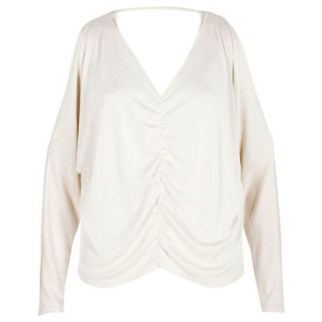 River Island Womens Cream knit ruched front batwing top