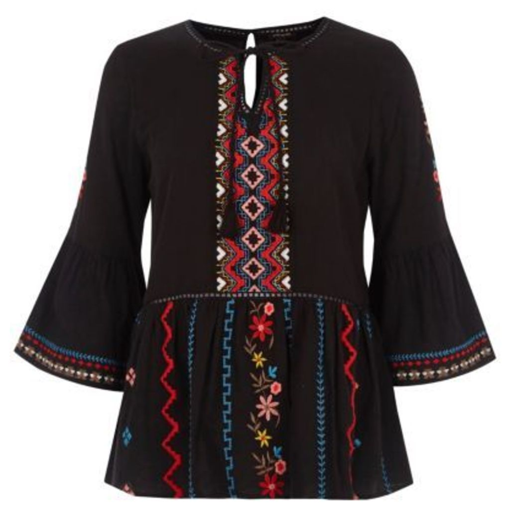 River Island Womens Petite Black embroidered bell sleeve top