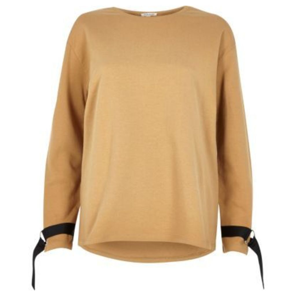 River Island Womens Light Brown ring detail long sleeve sweater