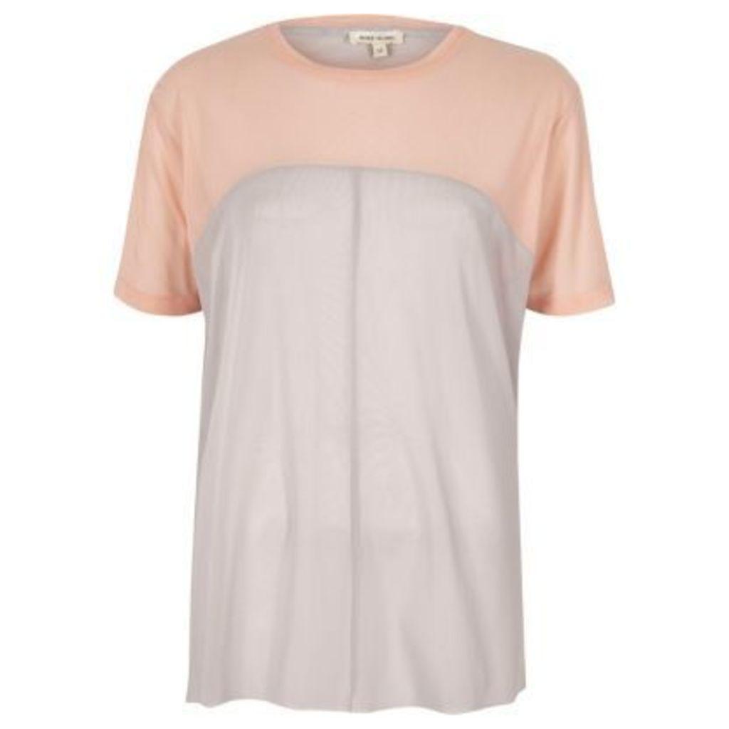 River Island Womens Pink mesh colour block oversized T-shirt