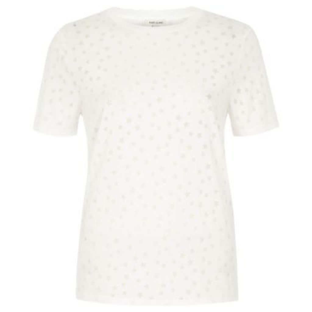 River Island Womens White star print burnout T-shirt