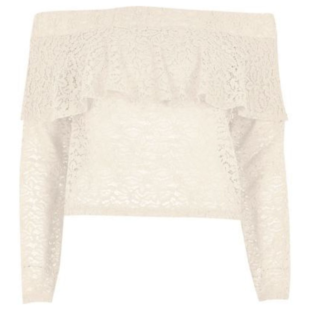 River Island Womens Cream lace deep frill bardot top