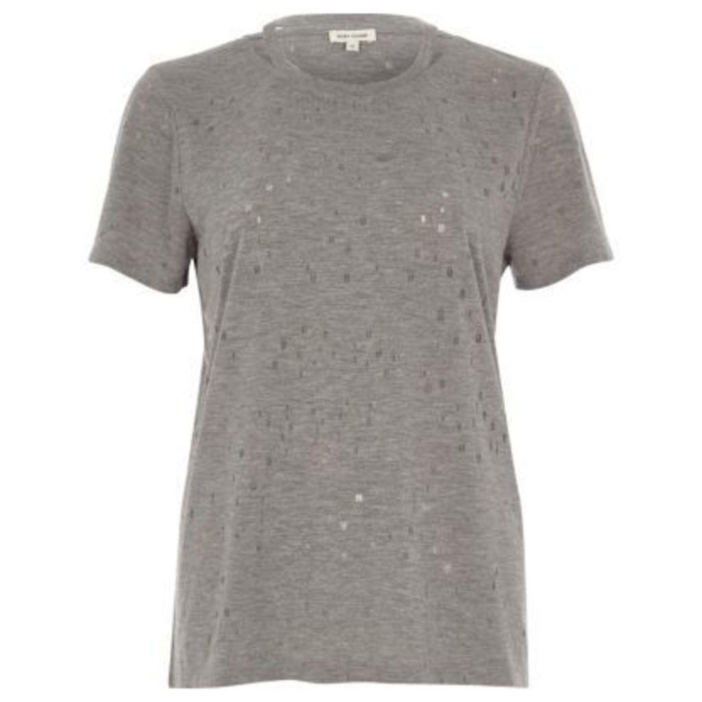 River Island Womens Grey strap neck holey T-shirt