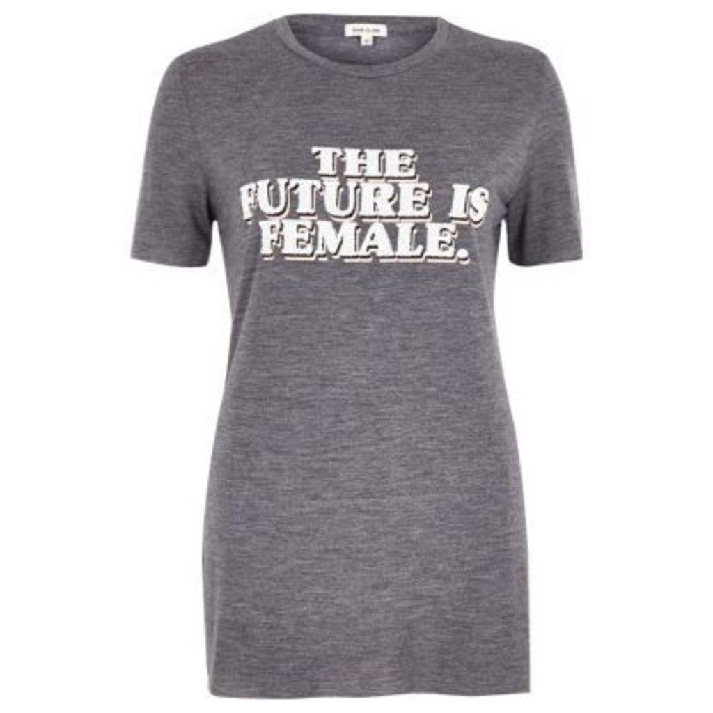 River Island Womens Grey marl 'the future is female' T-shirt