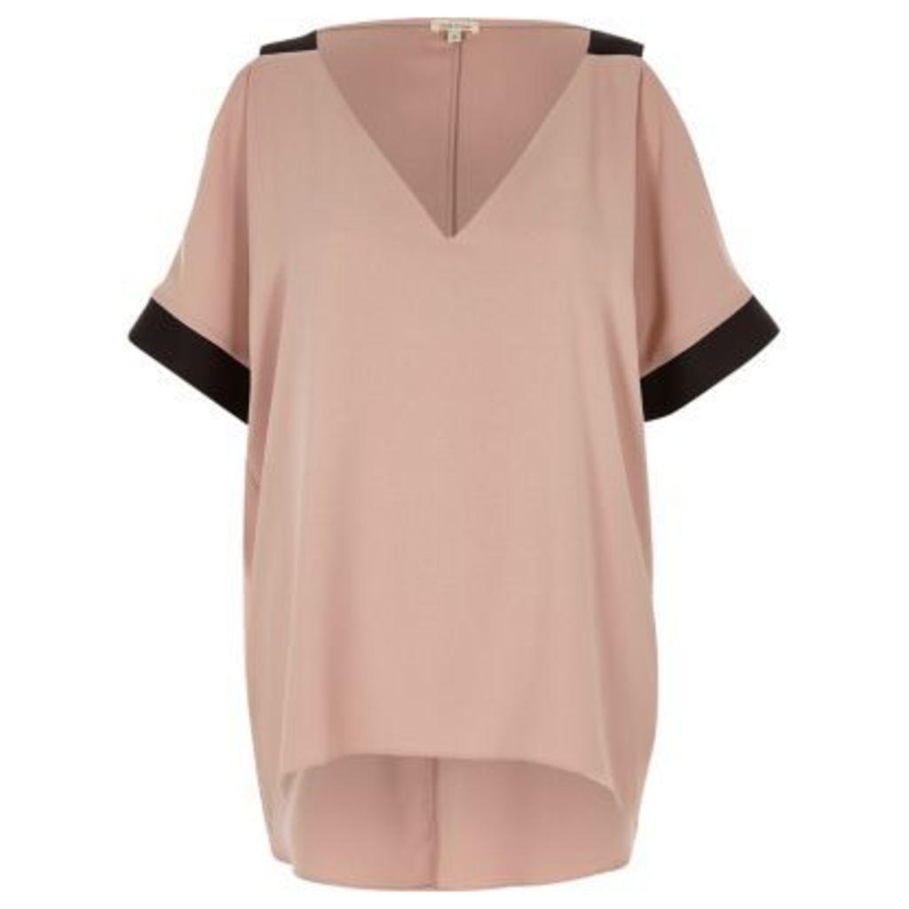River Island Womens Pink cold shoulder V-neck top