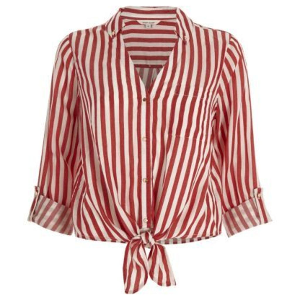 River Island Womens Red stripe tie front shirt