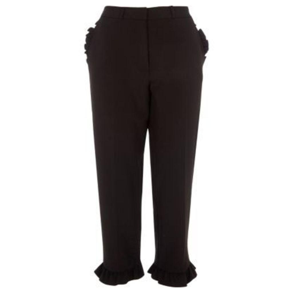 River Island Womens Black frill hem cropped straight leg trousers