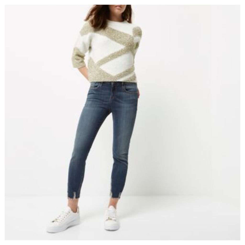 River Island Womens Petite Blue wash Amelie super skinny jeans