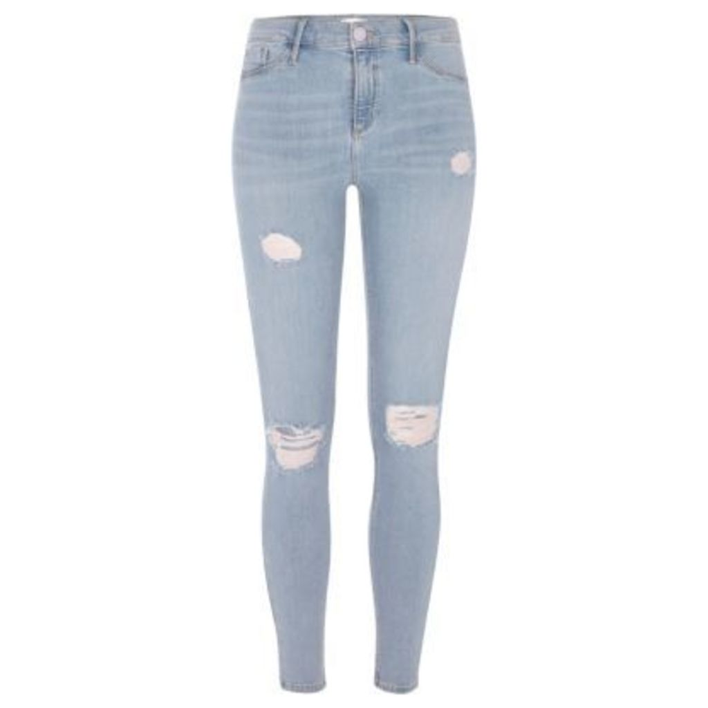 River Island Womens Mid Blue ripped Molly jeggings