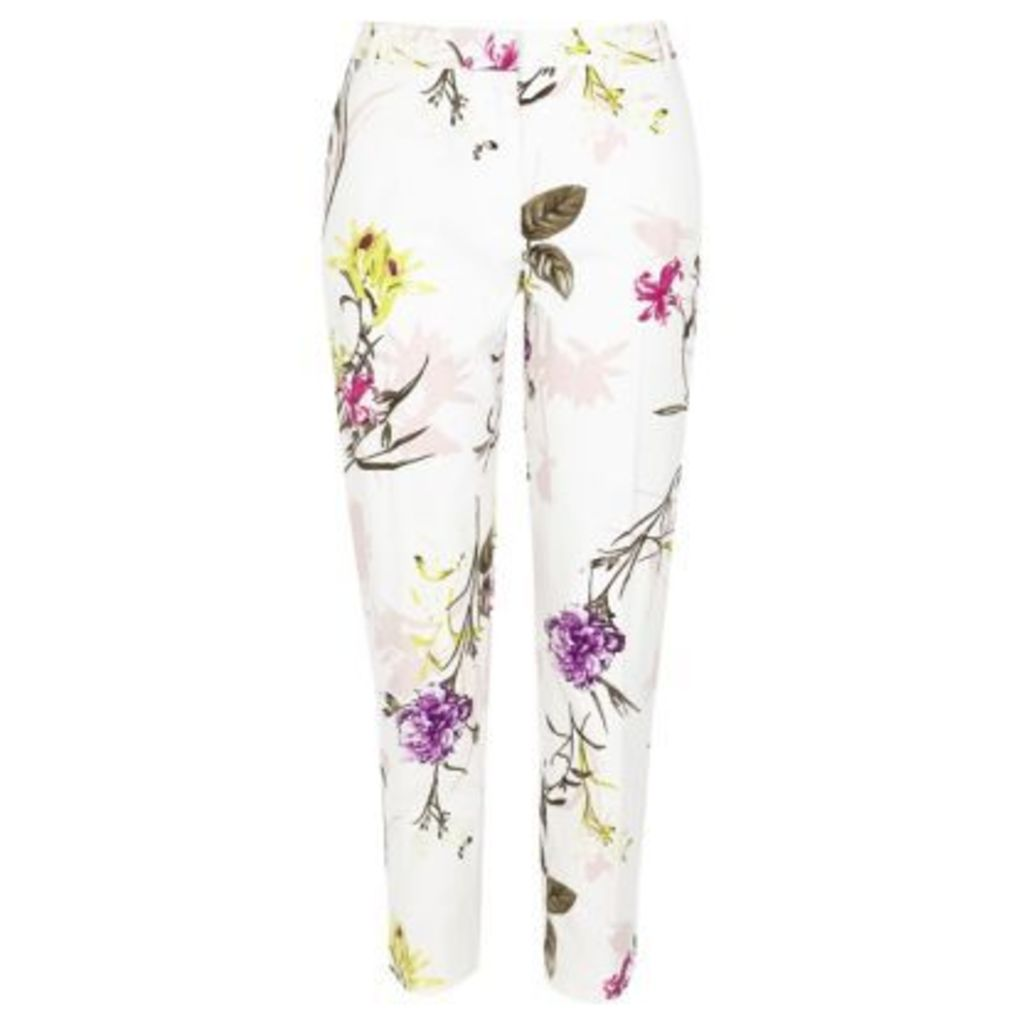 River Island Womens Cream floral print cigarette trousers