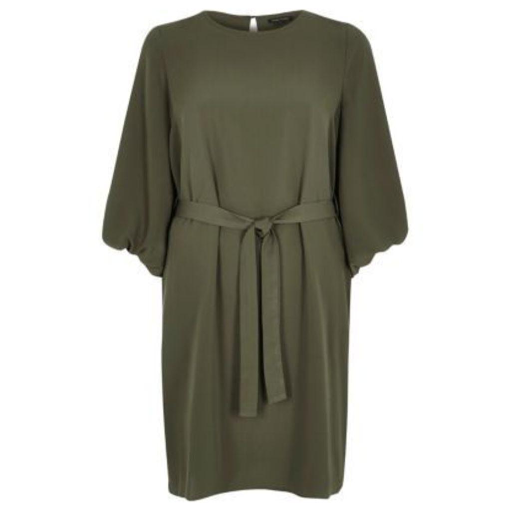 River Island Womens Khaki puff sleeve swing dress