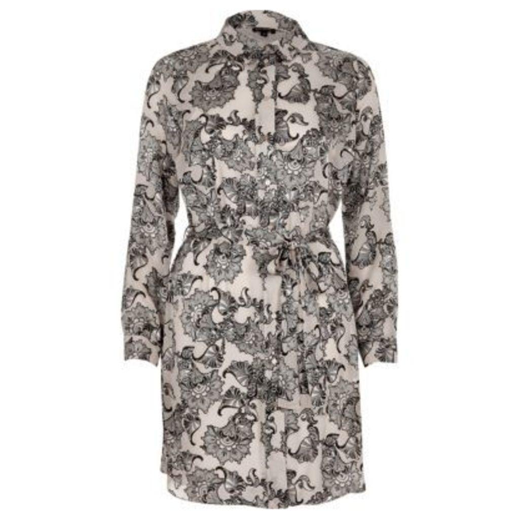 River Island Womens Grey print belted shirt dress
