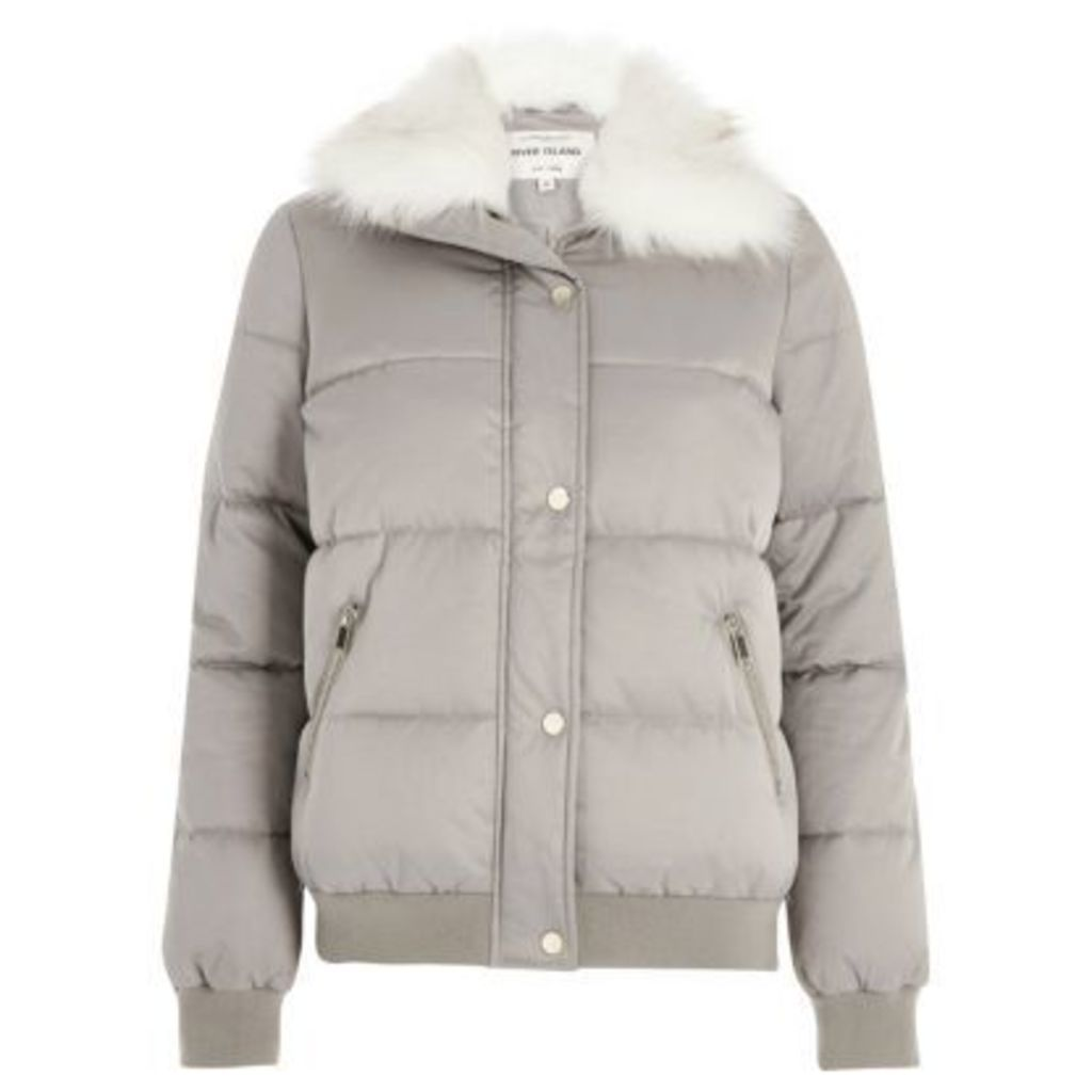 River Island Womens Grey faux fur trim puffer jacket