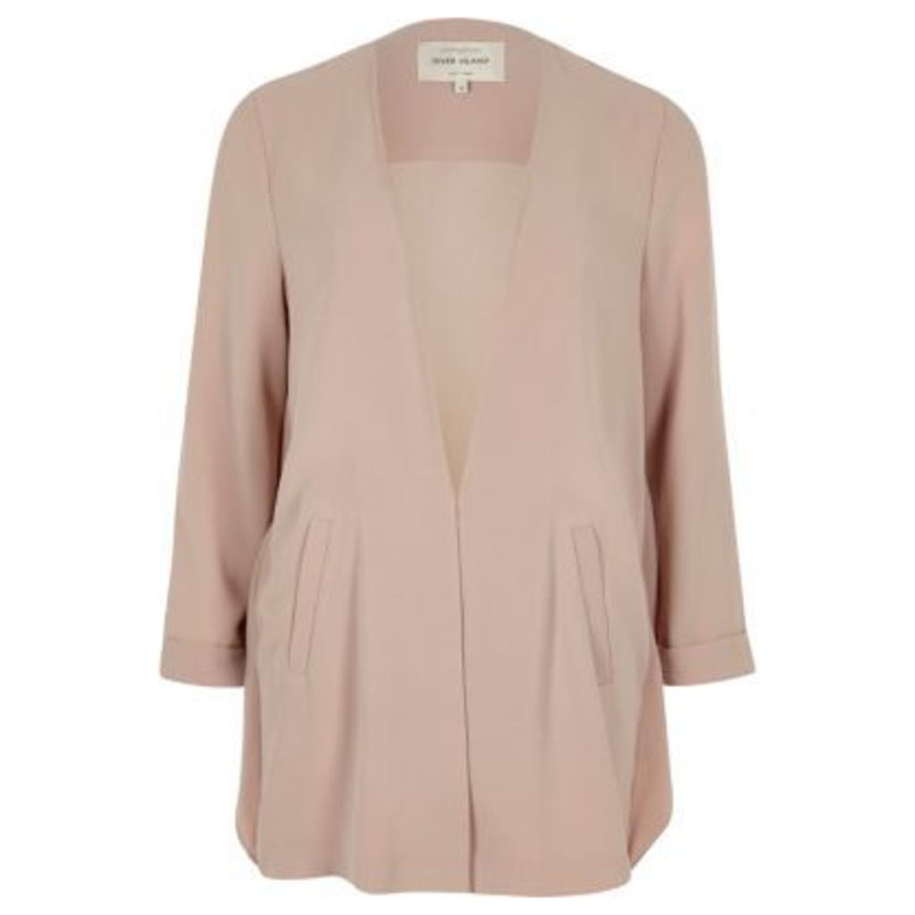 River Island Womens Pink frill back duster coat