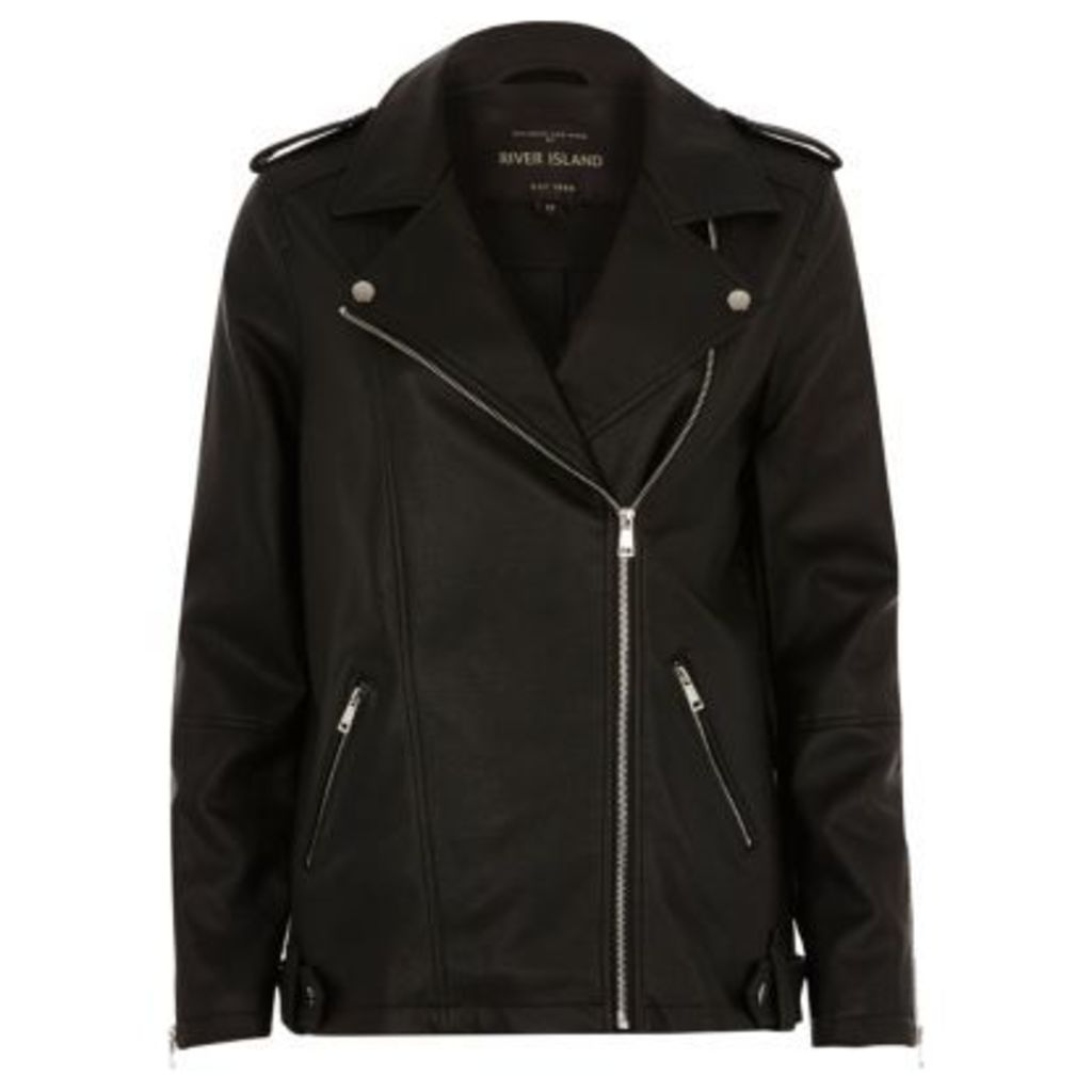 River Island Womens Black faux leather longline biker jacket
