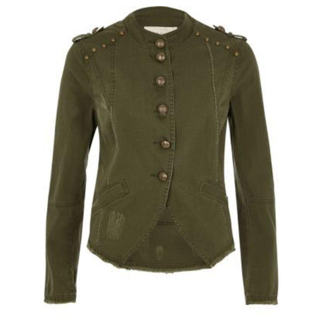 River Island Womens Khaki green distressed military jacket