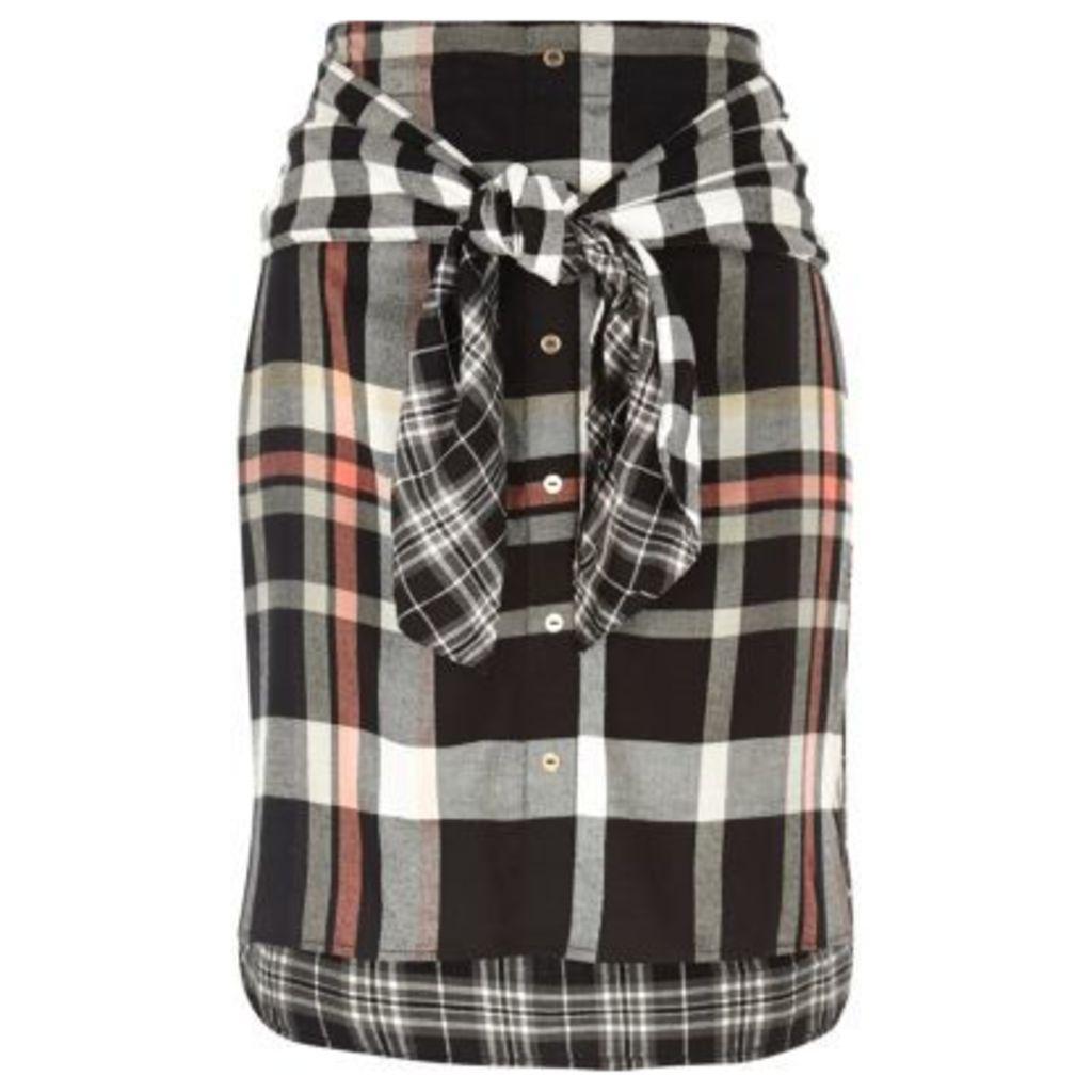 River Island Womens Black check tied waist midi skirt