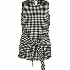River Island Womens Black gingham print tie knot vest top