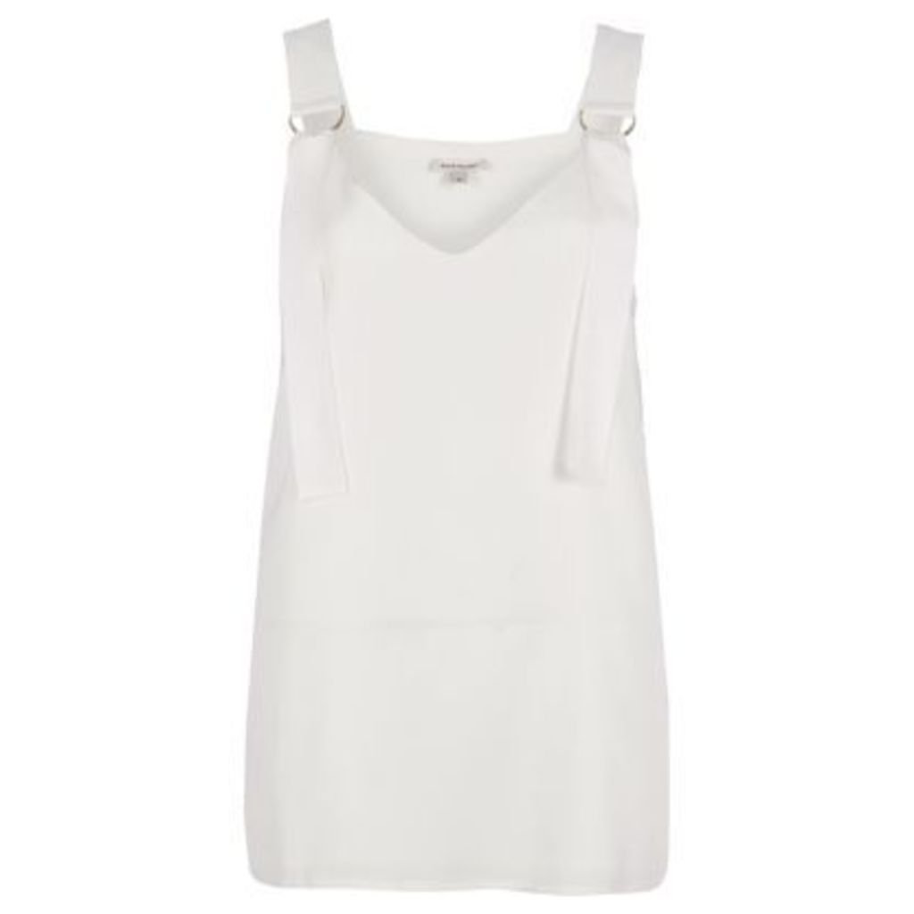 River Island Womens White D-ring strap tunic