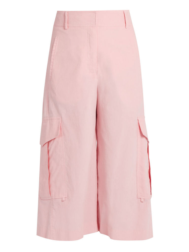 Sidney cropped wide-leg cotton cargo trousers