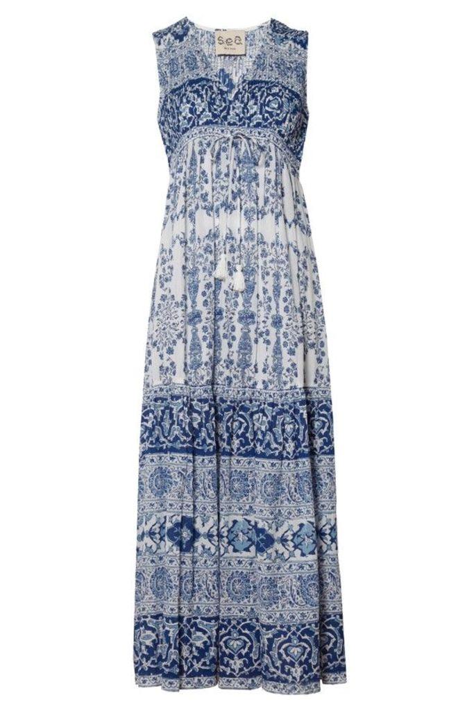 Deep V Midi Dress Blue