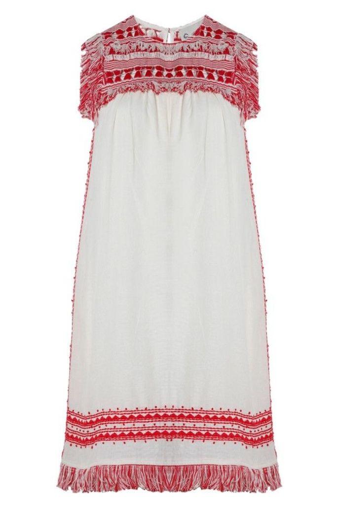 Fringe Sleeveless Tunic in Red and Cream