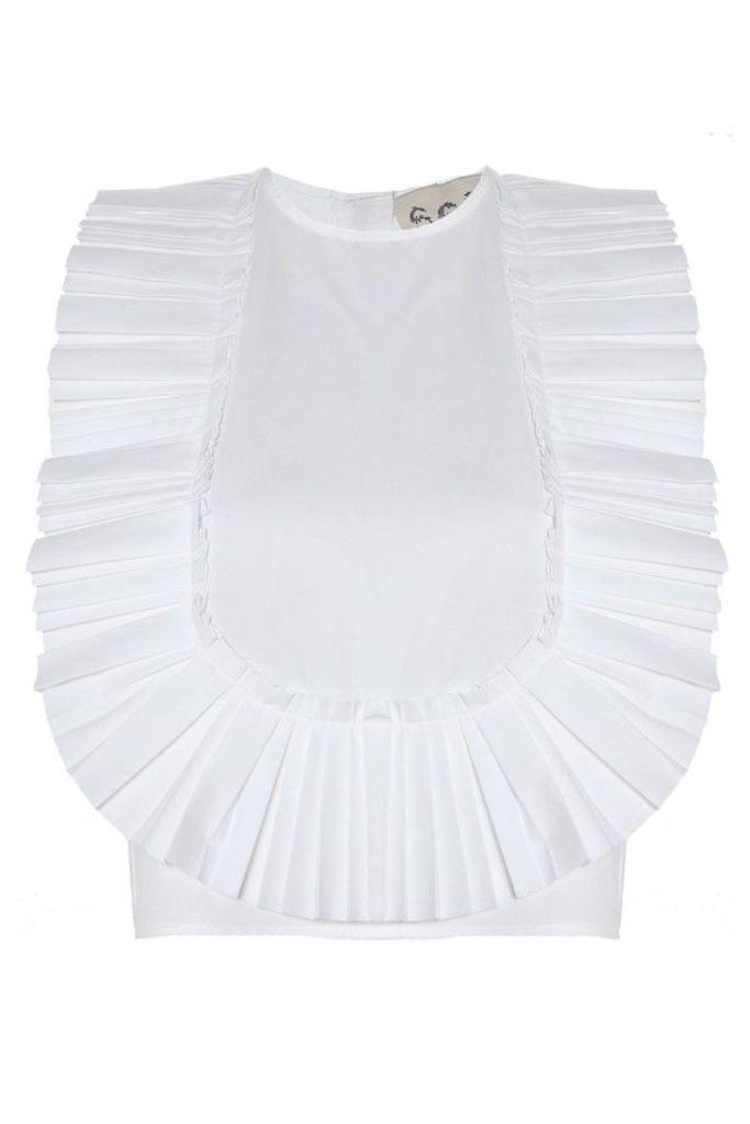 Pleated Bib Top White