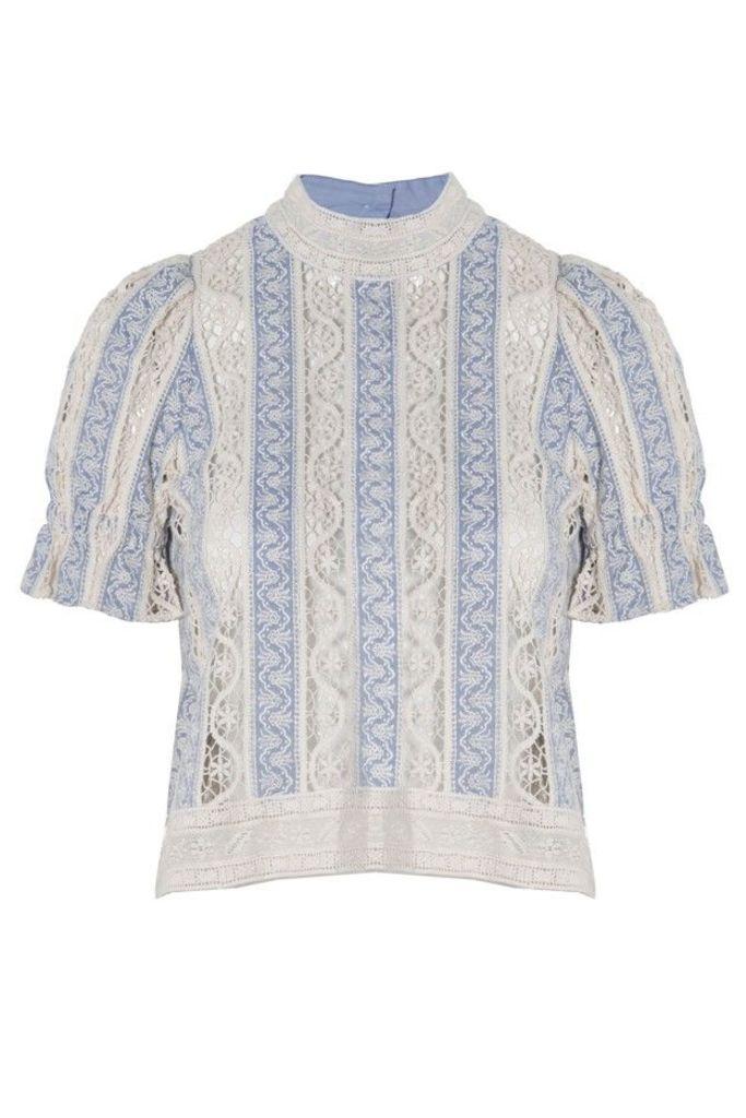 Column Crochet Short Sleeve Top