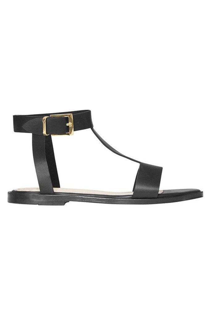 T Strap Sandals Black