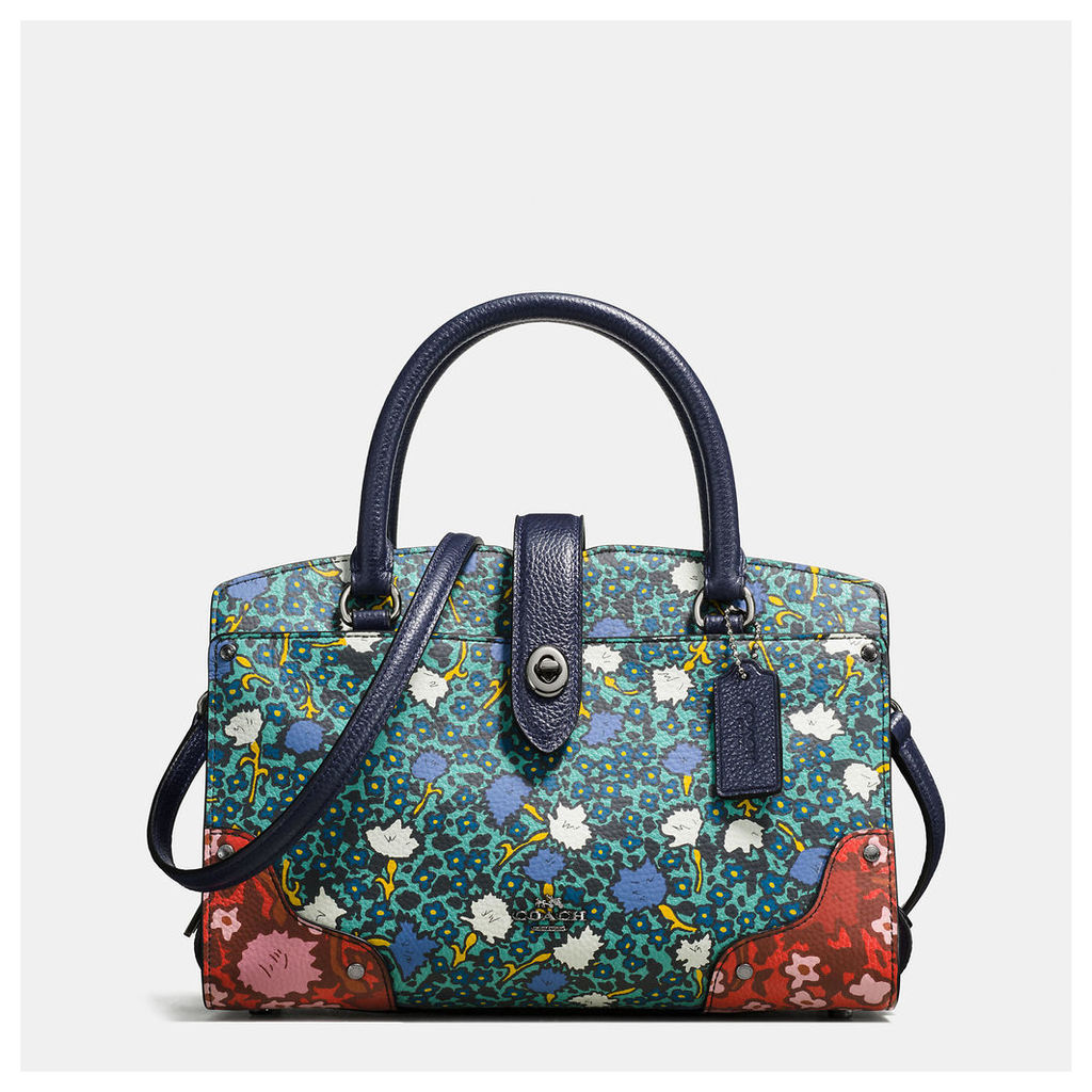 Coach Mercer Satchel 24 In Multi Floral Print Polished Pebble Leather