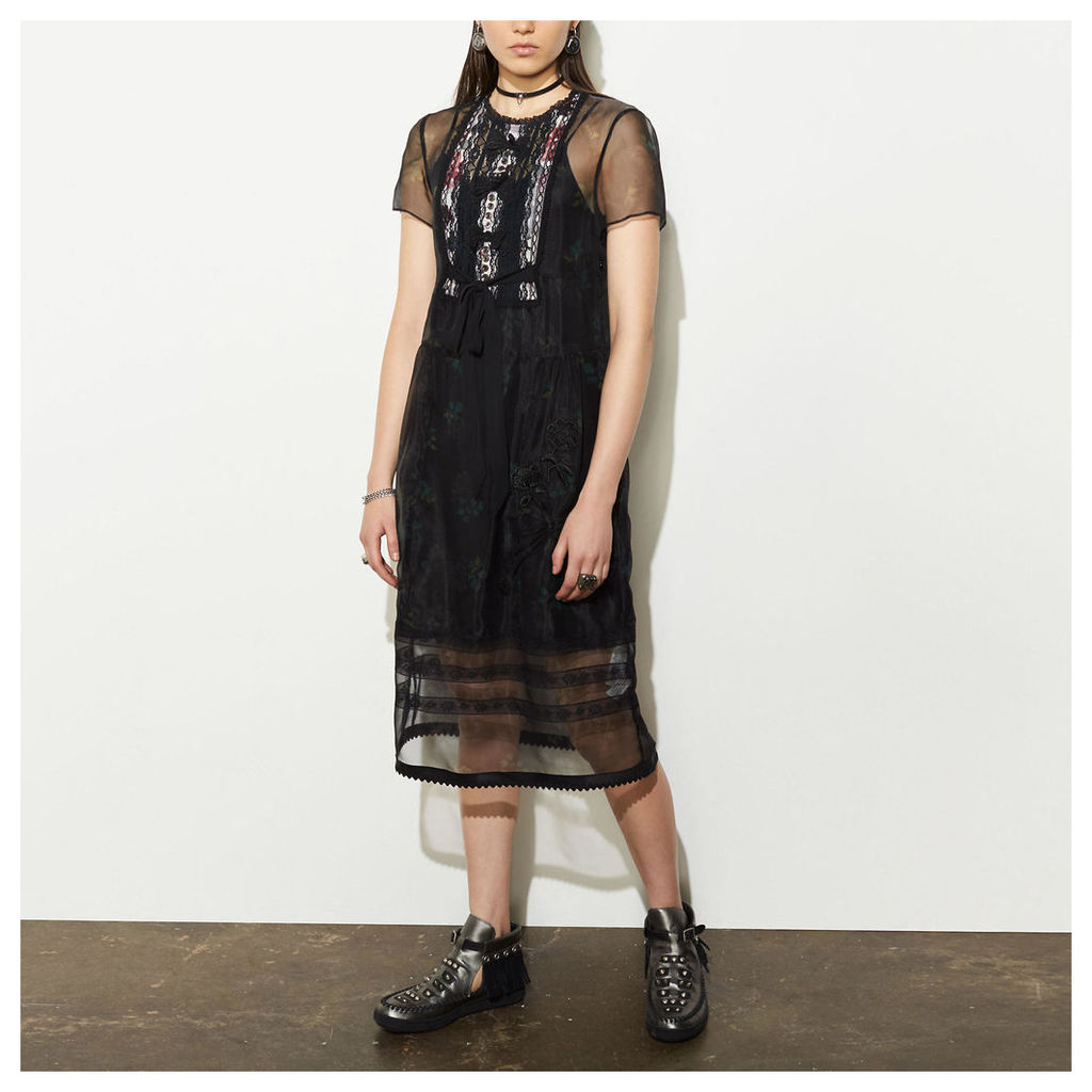 Coach Sheer Dress With Lacy Bow Bib