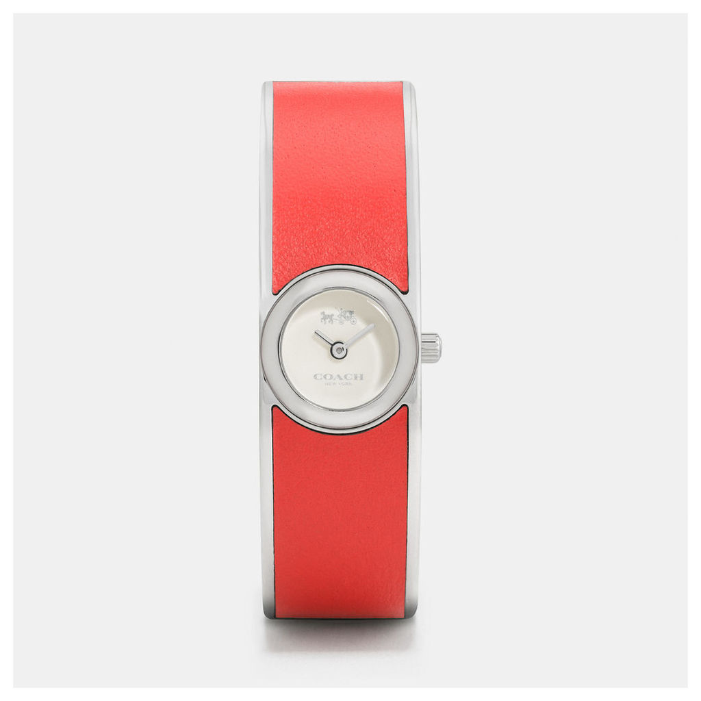 Coach Scout Stainless Steel Leather Inlay Bangle Watch