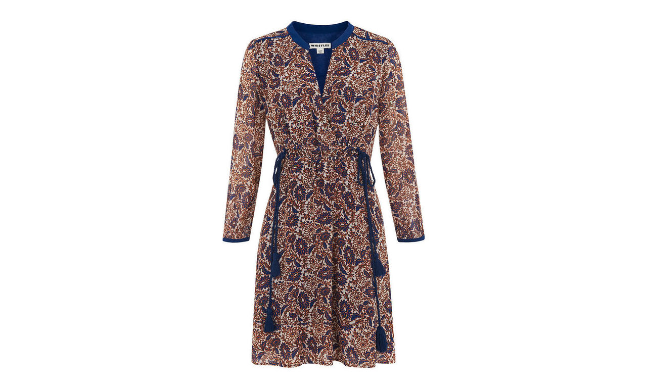 Aubrey Woodcut Tassle Dress