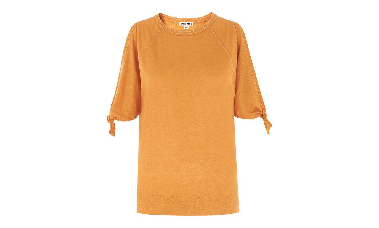 Stitch Tie Cuff Linen T-shirt