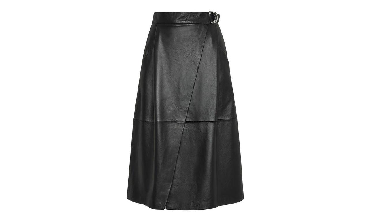 Wrap Leather Midi Skirt