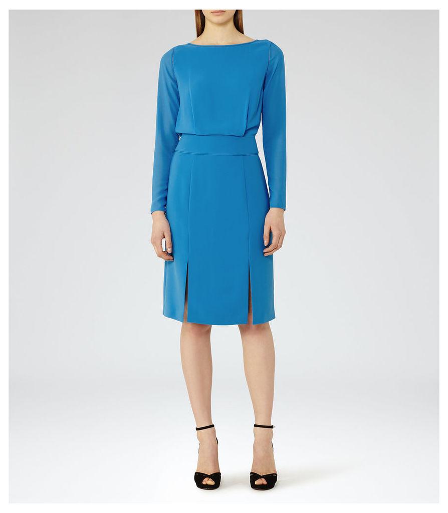 REISS Alessa - Womens Sheer-sleeve Dress in Blue