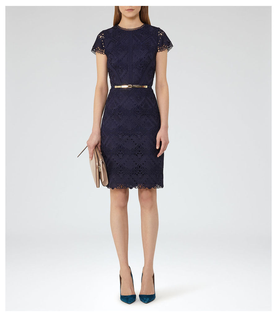 REISS Liza - Womens Graphic Lace Dress in Blue