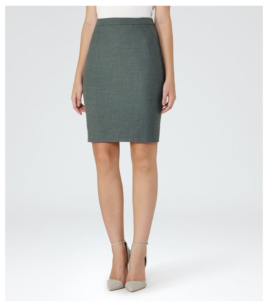 REISS Murphy Skirt - Womens Flannel Pencil Skirt in Green
