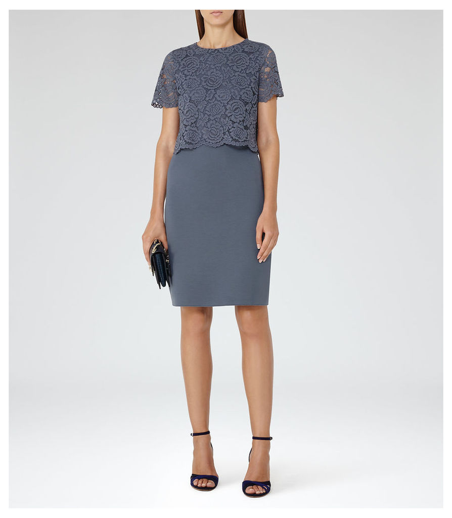 REISS Darby - Womens Lace And Neoprene Dress in Blue