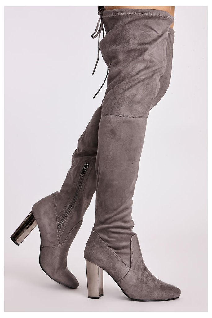 Grey Boots - Natasia Grey Faux Suede Chrome Heel Thigh High Boots