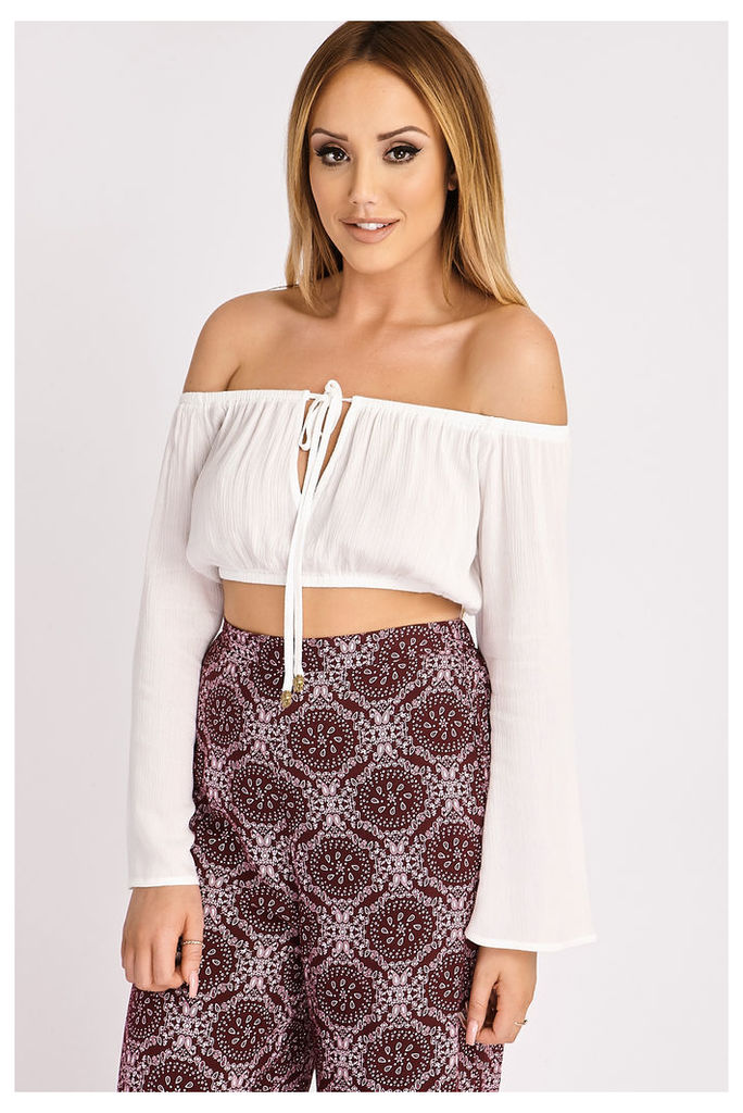 White Tops - Charlotte Crosby White Cheesecloth Off Shoulder Top