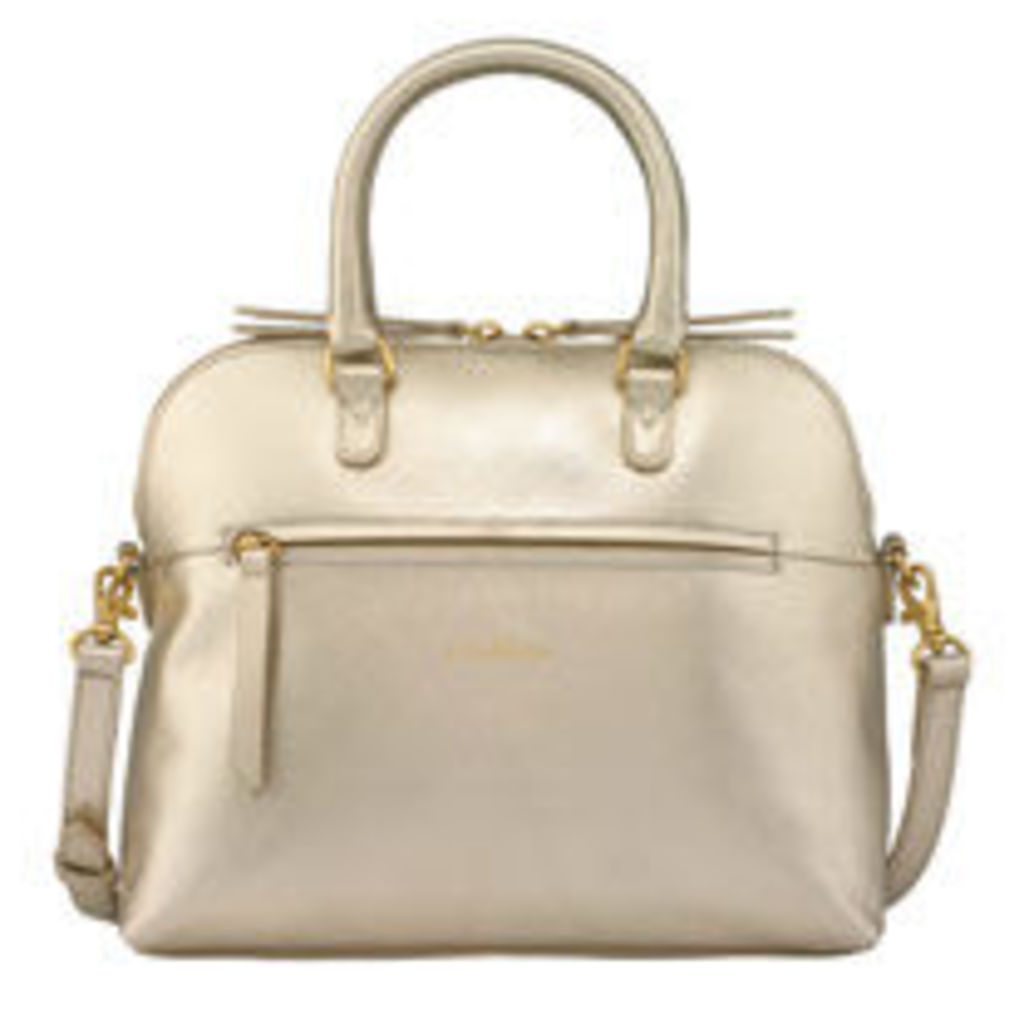 Mini Metallic Leather Zipped Handbag