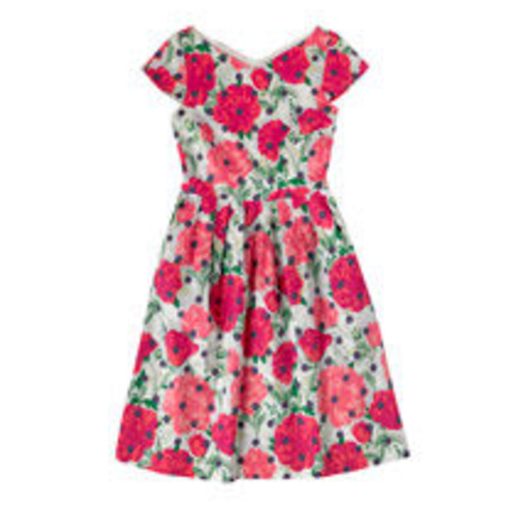 Peony Spot Cotton Sateen Dress
