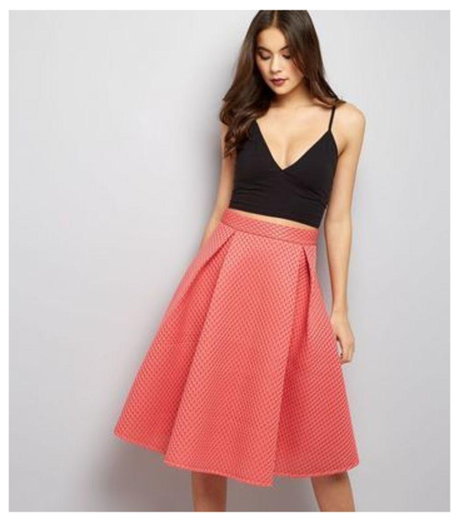 Blue Vanilla Coral Mesh A-Line Midi Skirt