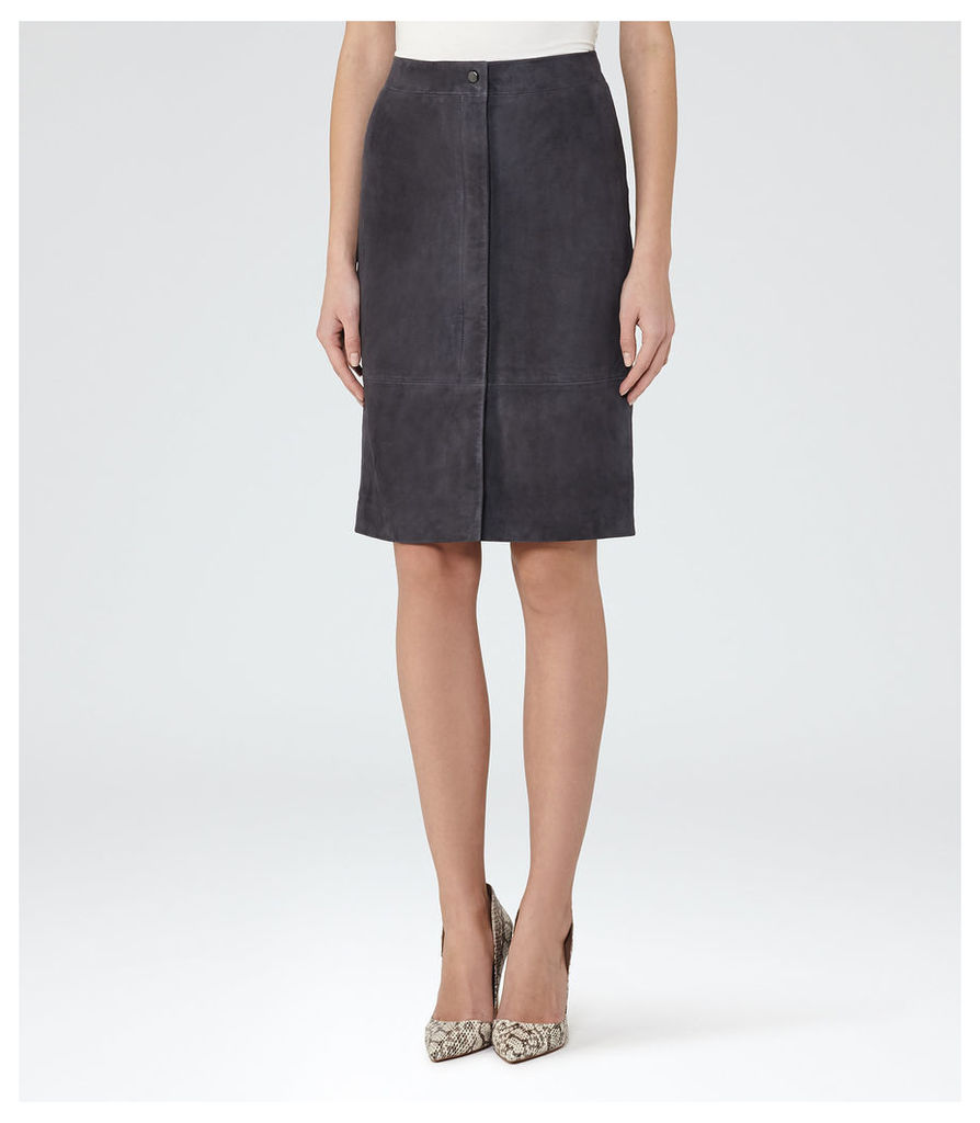 REISS Bea - Womens Suede Pencil Skirt in Blue