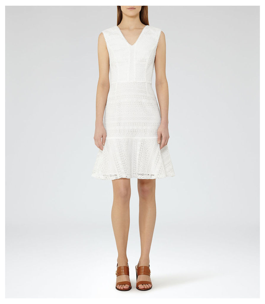 REISS Alice - Womens Lace Fit And Flare Dress in White
